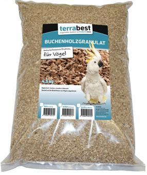 Buchenholzgranulat fein, Einstreu für Vögel  4,5KG